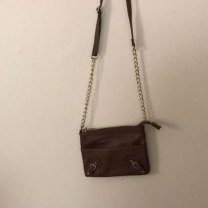 Small Brown Crossbody with Buckles and Chain EUC